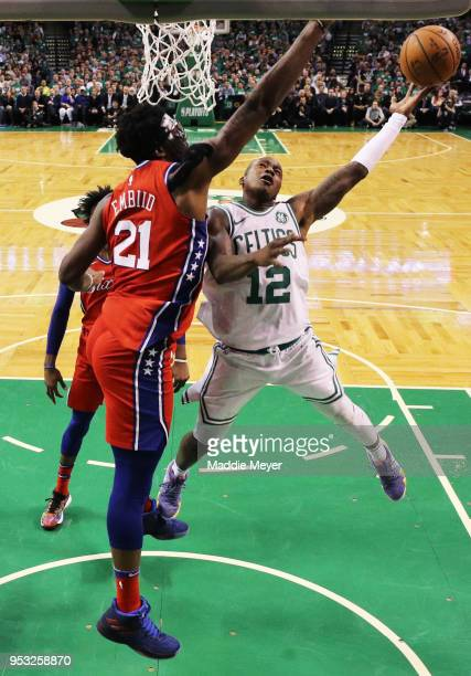 Terry Rozier of the Boston Celtics takes a shot against Joel Embiid of the Philadelphia 76ers during Game One in Round Two of the 2018 NBA Playoffs...