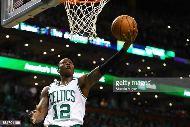 Terry Rozier of the Boston Celtics takes a shot against the Washington Wizards during the second half of Game Five of the Eastern Conference...