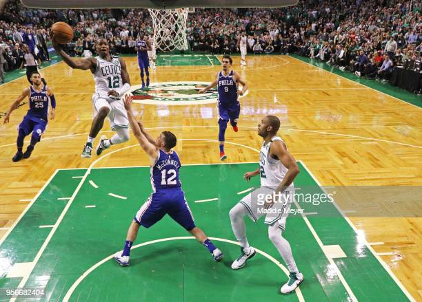 Terry Rozier of the Boston Celtics takes a shot over T.J. McConnell of the Philadelphia 76ers during Game Five of the Eastern Conference Second Round...