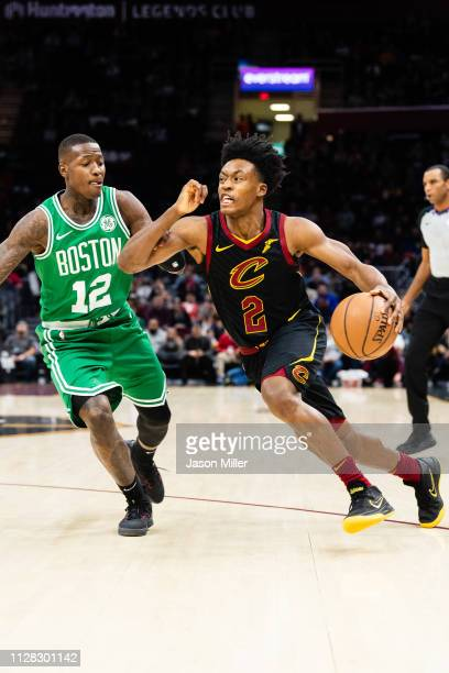 Terry Rozier of the Boston Celtics tries to guard Collin Sexton of the Cleveland Cavaliers during the first half at Quicken Loans Arena on February 5...