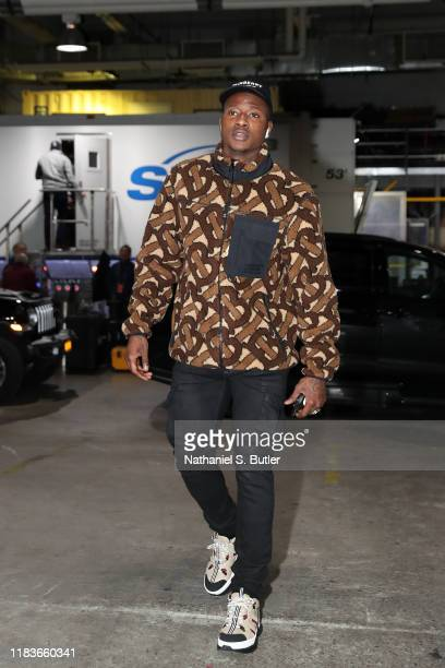 Terry Rozier of the Charlotte Hornets arrives to the game against the Brooklyn Nets on November 20 2019 at Barclays Center in Brooklyn New York NOTE...