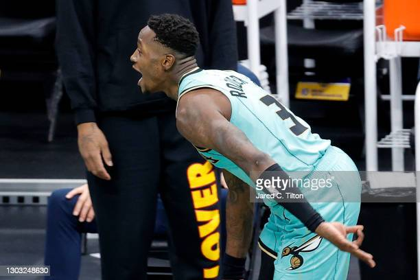 Terry Rozier of the Charlotte Hornets celebrates after hitting the game-winning three point basket during the final seconds of the fourth quarter of...