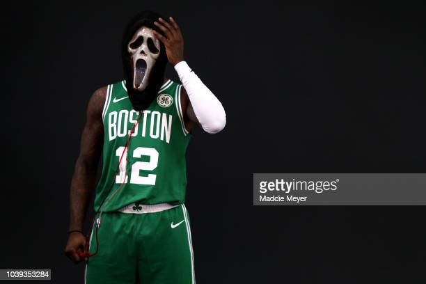 Terry Rozier poses for a photo wearing the Ghostface scream mask during Boston Celtics Media Day on September 24 2018 in Canton Massachusetts NOTE TO...