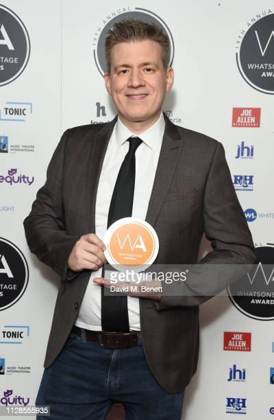 Terry Scruby poses in the Winners Room at The WhatsOnStage Awards 2019 at The Prince of Wales Theatre on March 3 2019 in London England
