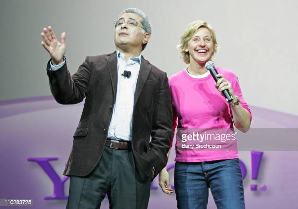 Terry Semel CEO of Yahoo and Ellen DeGeneres during 2006 International Consumer Electronics Show Keynote Address with Terry Semel at Las Vegas...