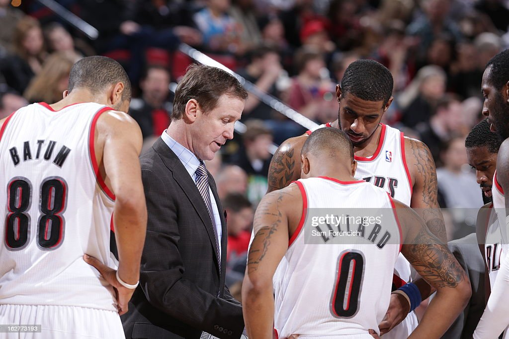 Terry Stotts and Damian Lillard #0 of the Portland Trail Blazers draw up plays during the game against the Los Angeles Clippers on January 26, 2013 at the Rose Garden Arena in Portland, Oregon.