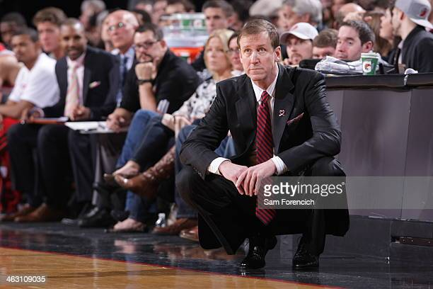 Terry Stotts Head Coach of the Portland Trail Blazers during a game against the Cleveland Cavaliers on January 15 2014 at the Moda Center Arena in...