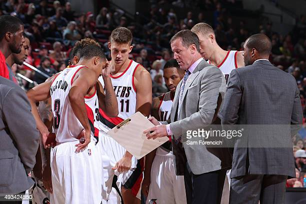 Terry Stotts of the Portland Trail Blazers coaches against the Utah Jazz during a preseason game on October 18 2015 at the Moda Center Arena in...