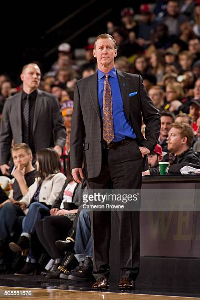 Terry Stotts of the Portland Trail Blazers coaches against the Utah Jazz on January 13 2016 at the Moda Center Arena in Portland Oregon NOTE TO USER...