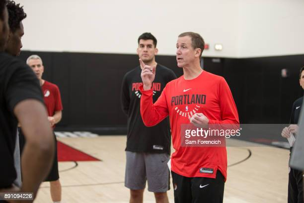 Terry Stotts of the Portland Trail Blazers coaches during an all access practice on December 7 2017 at the Trail Blazer Practice Facility in Portland...