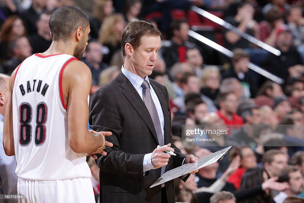 Terry Stotts of the Portland Trail Blazers draws up plays from the bench during the game against the Los Angeles Clippers on January 26, 2013 at the Rose Garden Arena in Portland, Oregon.