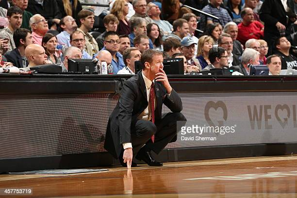 Terry Stotts of the Portland Trail Blazers looks on during the game against the Minnesota Timberwolves on December 18 2013 at Target Center in...