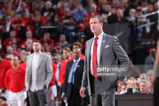 Terry Stotts of the Portland Trail Blazers looks on during the game against the Golden State Warriors during Game Four of the Western Conference...
