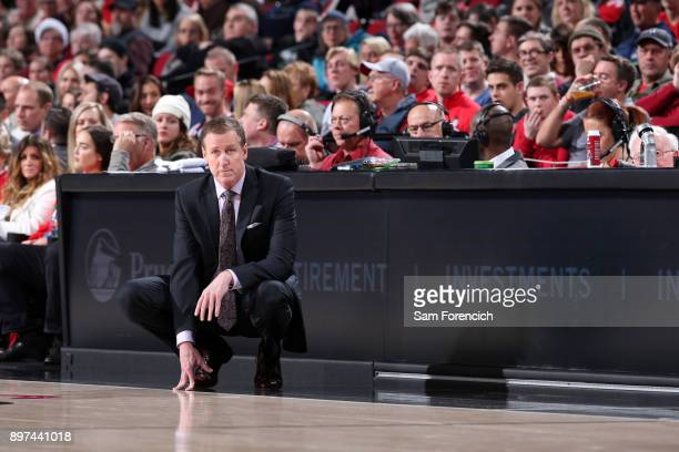 Terry Stotts of the Portland Trail Blazers looks on during the game against the Denver Nuggets on December 22 2017 at the Moda Center in Portland...