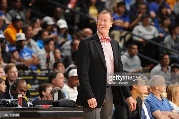 Terry Stotts of the Portland TrailBlazers is seen during the game against the Golden State Warriors on October 21 2016 at Oracle Arena in Oakland...
