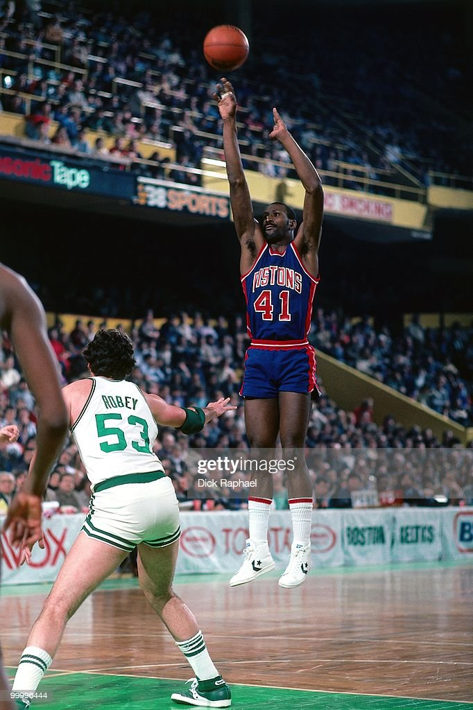 Terry Tyler #41 of the Detroit Pistons shoots a jump shot against Rick Robey #53 of the Boston Celtics during a game played in 1983 at the Boston Garden in Boston, Massachusetts.