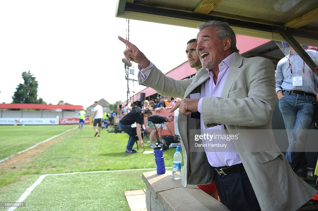 Terry Venables, technical advisor of Wembley FC, gestures during a Budweiser FA Cup Extra Preliminary Round at Vale Farm Stadium, on August 11, 2012 in Wembley, London, England.
