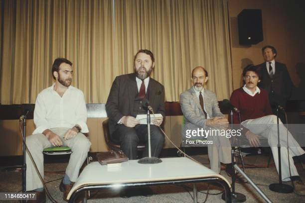 Terry Waite , the special envoy to the Archbishop of Canterbury, with liberated hostages Robin Plummer, Michael Berdinner and Malcolm Anderson at...