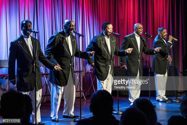 Terry Weeks Otis Williams Willie Green Larry Braggs and Ron Tyson perform during The Drop The Temptations at The GRAMMY Museum on June 11 2018 in Los...