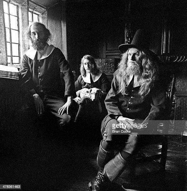 Terry Wincott, Eddie Baird, John Gladwin of Amazing Blondel pose for the Fantasia Lindum album cover at Shibden Hall, Halifax in March 1971.