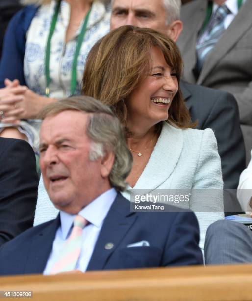 Terry Wogan and Carole Middleton attend the Noval Djokovic v Gilles Simon match on centre court during day five of the Wimbledon Championships at...