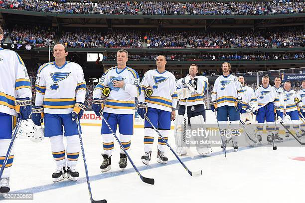 Terry Yake Peter Stastny Bryce Salvador Martin Brodeur Chris Pronger Chris Mason Kelly Chase Pierre Turgeon Brett Hull and Wayne Gretzky of the St...
