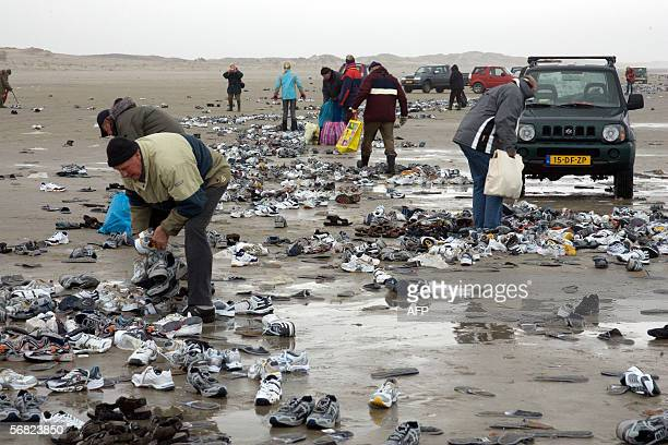 People collect 10 February 2006 on the Dutch island of Terschelling part of the Waddenislandgroup in the northern part of the Netherlands some of...