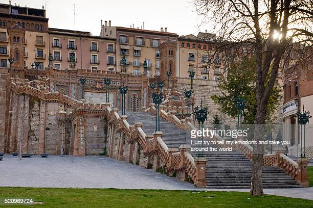 teruel, aragon, spain, escalinata - iberian stock photos and pictures