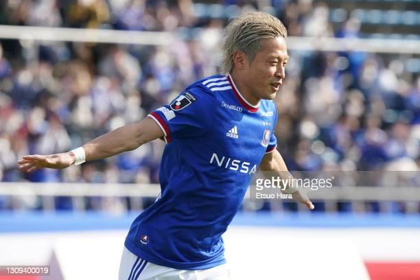 Teruhito Nakagawa of Yokohama F.Marinos celebrates scoring his side's second goal during the J.League YBC Levain Cup Group D match between Yokohama...