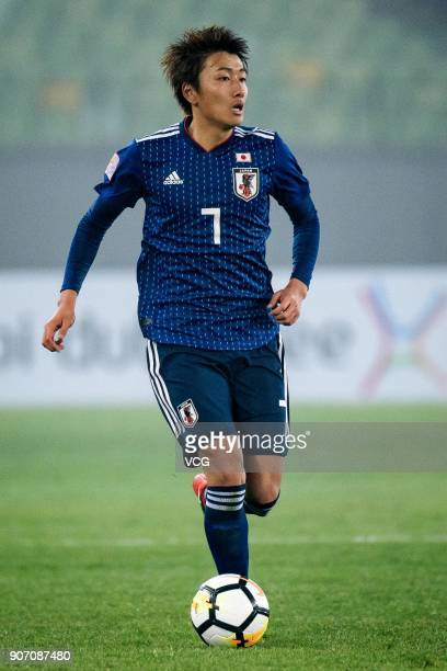 Teruki Hara of Japan drives the ball during the AFC U23 Championship quarterfinal match between Japan and Uzbekistan at Jiangyin Stadium on January...