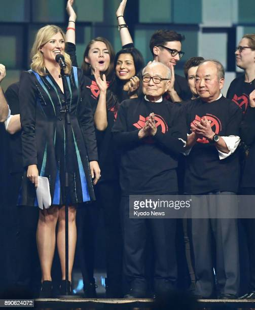 Terumi Tanaka and Toshiki Fujimori survivors of the US atomic bombings of Nagasaki and Hiroshima stand on the stage during the annual Nobel Peace...