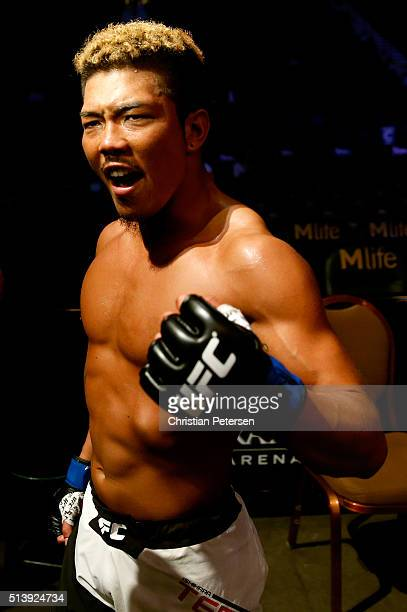 Teruto Ishihara of Japan reacts to his victory over Julian Erosa in their featherweight bout during the UFC 196 event inside MGM Grand Garden Arena...
