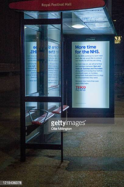 Tesco bus shelter advert showing new NHS help initiatives on March 28, 2020 in London, England. British Prime Minister, Boris Johnson, announced...