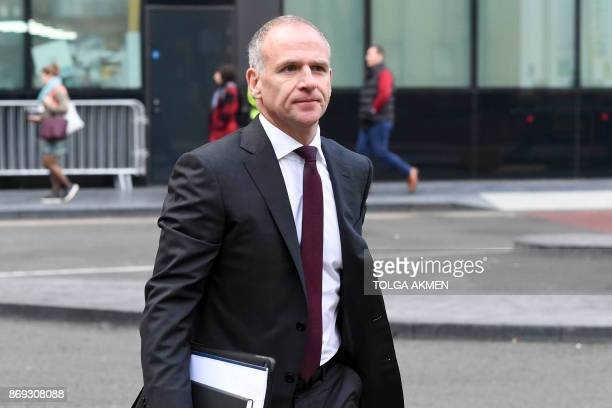 Tesco CEO Dave Lewis arrives at Southwark Crown Court in London on November 2 2017 to give evidence at the trial of Tesco employees charged with...