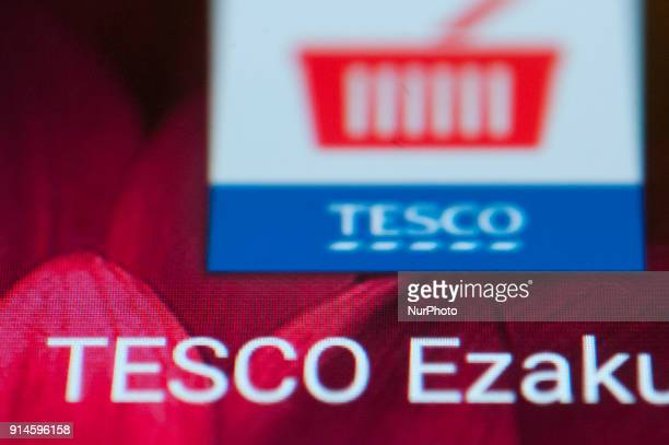 A Tesco supermarket app icon is seen on an Android portable device on February 5 2018