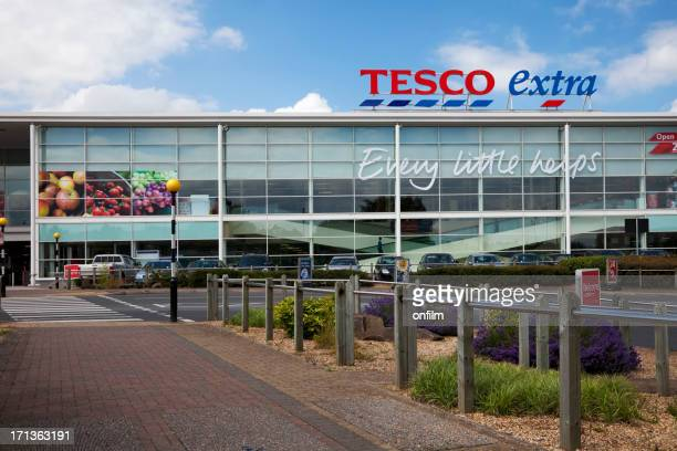 tesco supermarket, sign, logo and slogan - slogan stock pictures, royalty-free photos & images