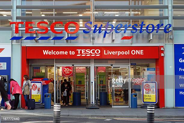 Tesco superstore supermarket in Liverpool One shopping mall