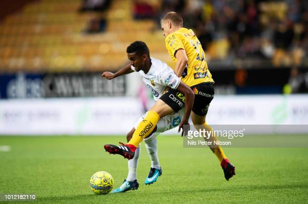Tesfaldet Tekie of Ostersunds FK and Joakim Nilsson of IF Elfsborg competes for the ball during the Allsvenskan match between IF Elfsborg and...