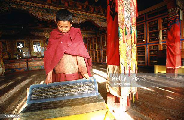 Teshi Phuntsok a novice is the guardian of the Tawang monastery's library considered as one of the richest of the Tibetan world