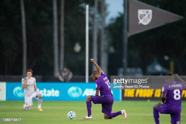 Tesho Akindele of Orlando City SC before the game between Montreal Impact and Orlando City SC at ESPN Wide World of Sports on July 25, 2020 in Lake...