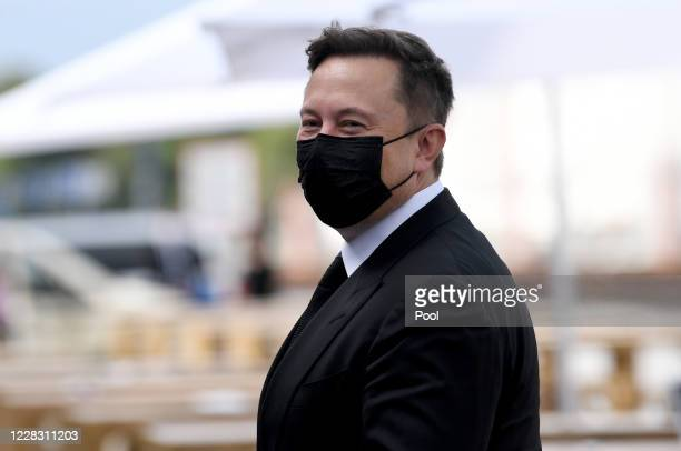 Tesla and SpaceX CEO Elon Musk arrives at the Westhafen Event & Convention Center to attend the CDU/CSU faction meeting on September 2, 2020 in...
