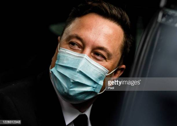Tesla and SpaceX CEO Elon Musk leaves the Westhafen Event & Convention Center after attending the CDU/CSU faction meeting on September 2, 2020 in...