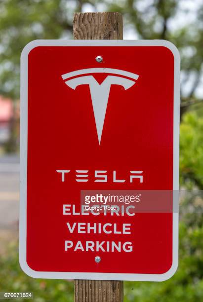 Tesla automobile electrical charging station is viewed at Martinelli Winery on April 24 in Windsor California After record winter rainfall battered...