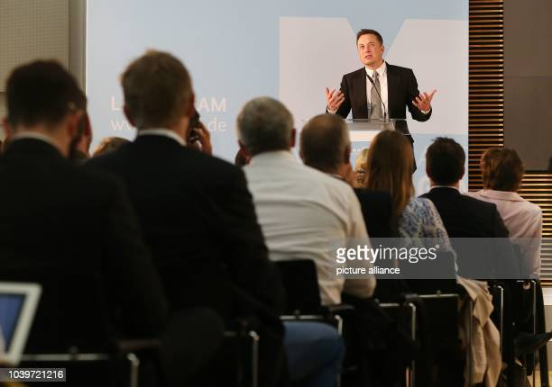 Tesla boss and internet entrepreneur Elon Musk speaking during a discussion event about the future of the economy at the German economy ministry in...