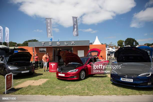 Tesla cars exhibition seen during the on Great Yorkshire Show 2018 day one The Great Yorkshire Show is the biggest 3 days agricultural event in...