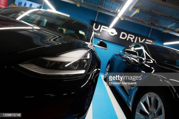 Tesla cars pictured during the opening of the first Berlin electric caresharing station of UFODRIVE on March 02 2020 in Berlin Germany UFODRIVE...
