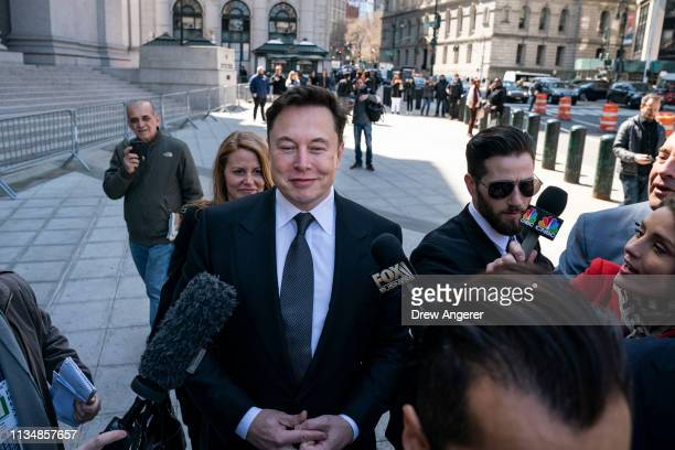 Tesla CEO Elon Musk arrives at federal court April 4 2019 in New York City A federal judge will hear oral arguments this afternoon in a lawsuit...