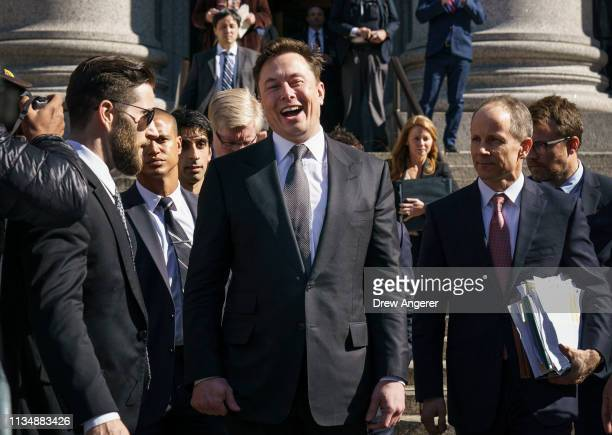 Tesla CEO Elon Musk exits federal court April 4 2019 in New York City A federal judge heard oral arguments this afternoon in a lawsuit brought by the...