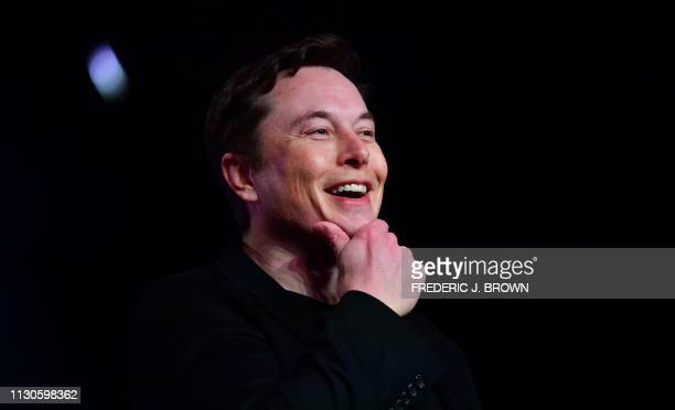 Tesla CEO Elon Musk speaks during the unveiling of the new Tesla Model Y in Hawthorne, California on March 14, 2019.