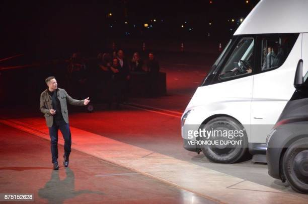Tesla Chairman and CEO Elon Musk unveils the new Semi electric Truck to buyers and journalists on November 16 2017 in Hawthorne California near Los...